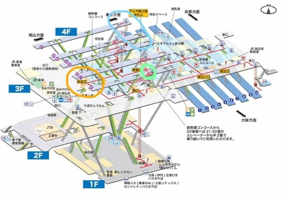 師の尾坂駅構内図で新幹線の見やすい位置を案内