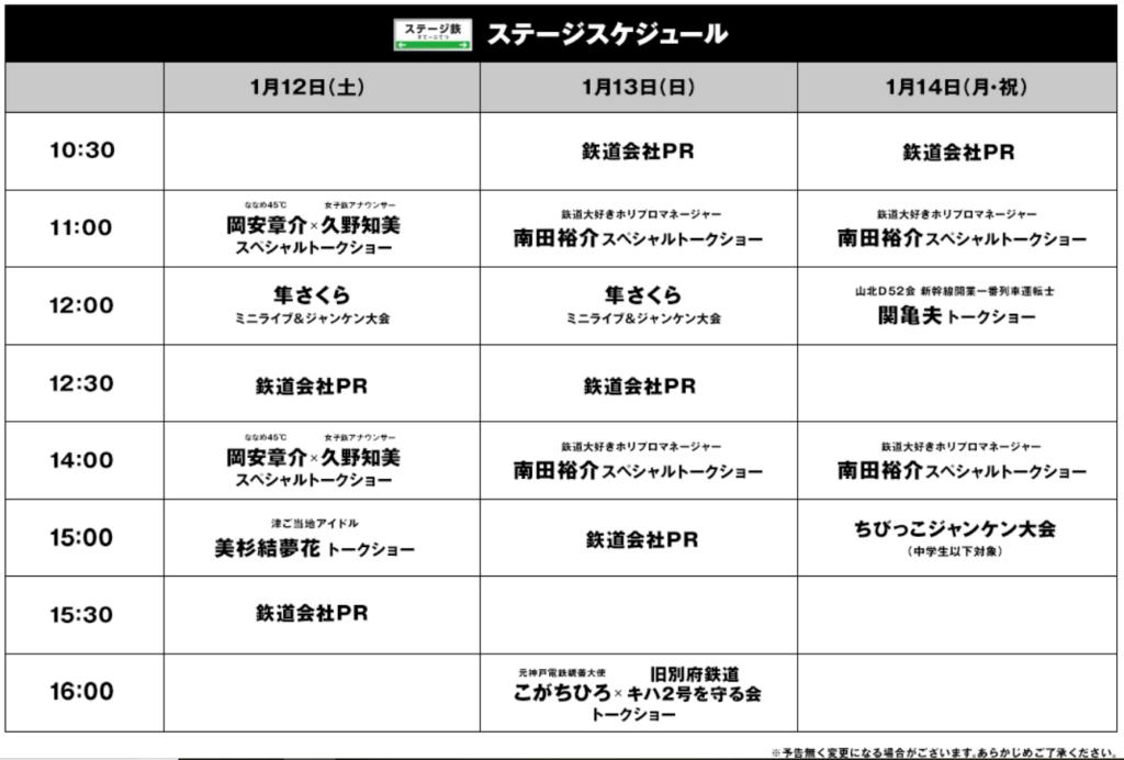 鉄道博2019のステージスケジュール
