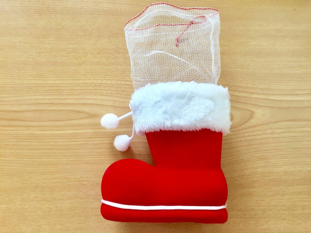 再そークリスマスお菓子ブーツの網を伸ばした写真