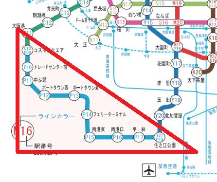 南港ポートタウン線(ニュートラム)路線図