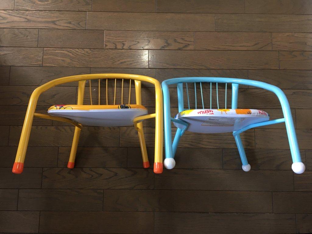 ダイソー子供椅子と一般的な子供椅子を並べてみた