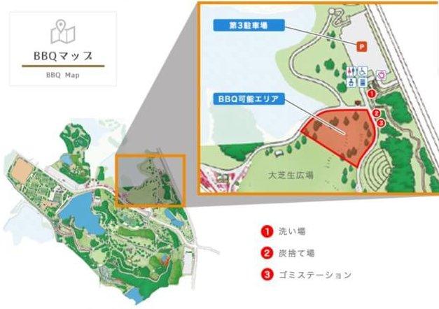 トンボ池公園バーベキュー場の地図