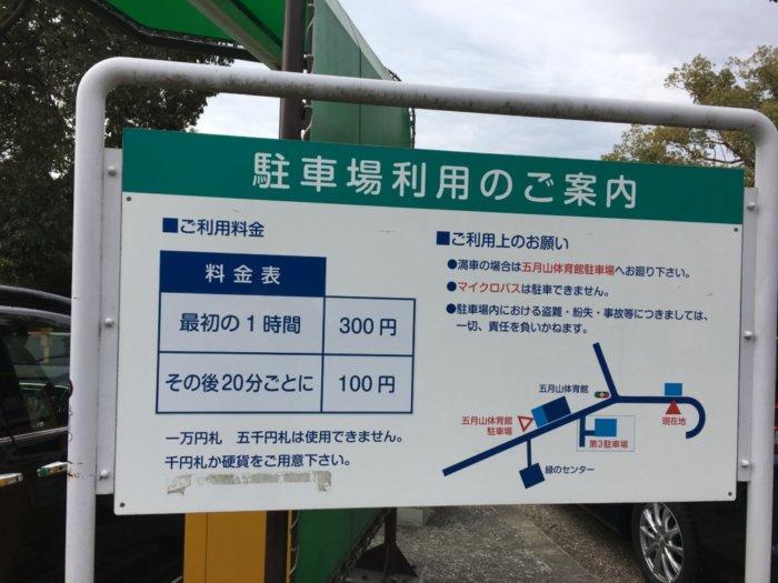 五月山動物園駐車場料金表