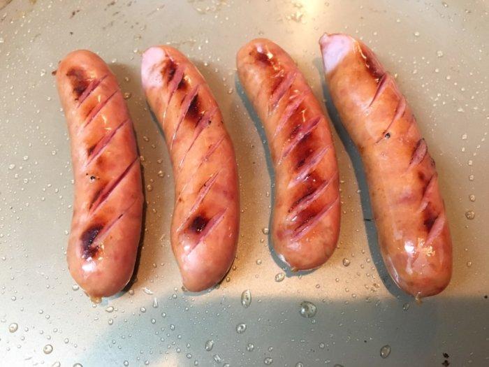 粗挽きポークウインナー1600gフライパンで焼く