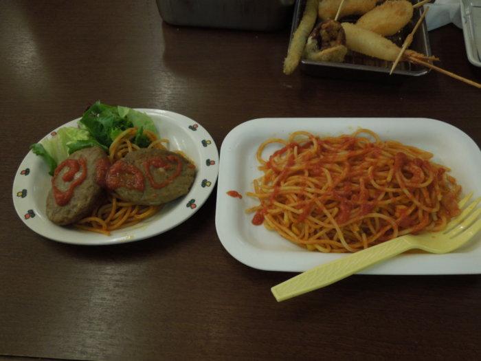 味の大丸のキッズメニュー、チーズインハンバーグとスパゲッティ
