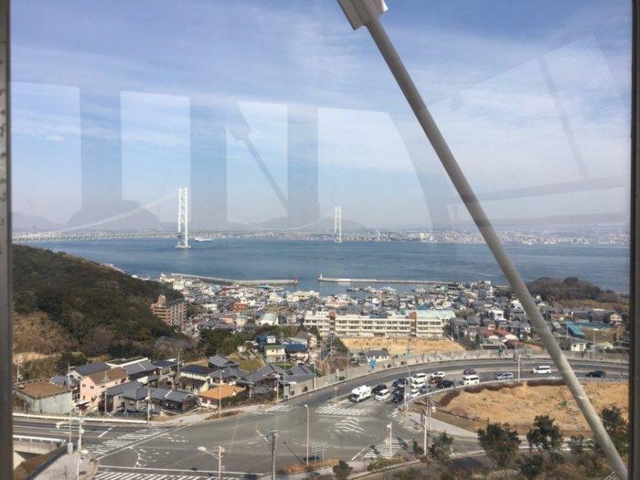 淡路サービスエリア下り観覧車からの明石海峡大橋