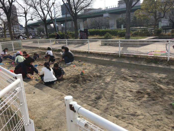 毛馬桜ノ宮公園、児童遊技場の遊具砂場