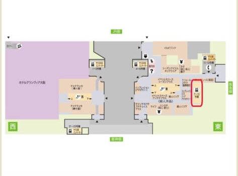 大丸梅田1階フロアマップ、10階行きエレベーターの場所