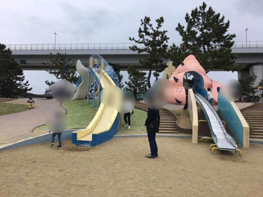 二色の浜公園遊具すべり台2つ