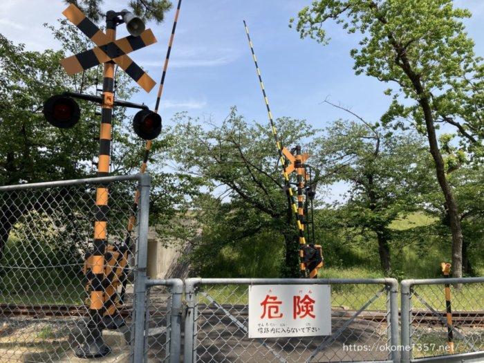 浜寺公園 交通遊園の汽車が通る踏切