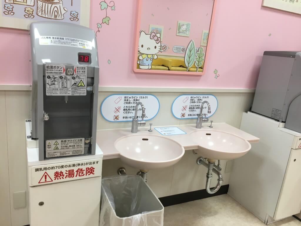 キューズモール2階授乳室・オムツ・遊び場にあるミルクを冷ます用の水道