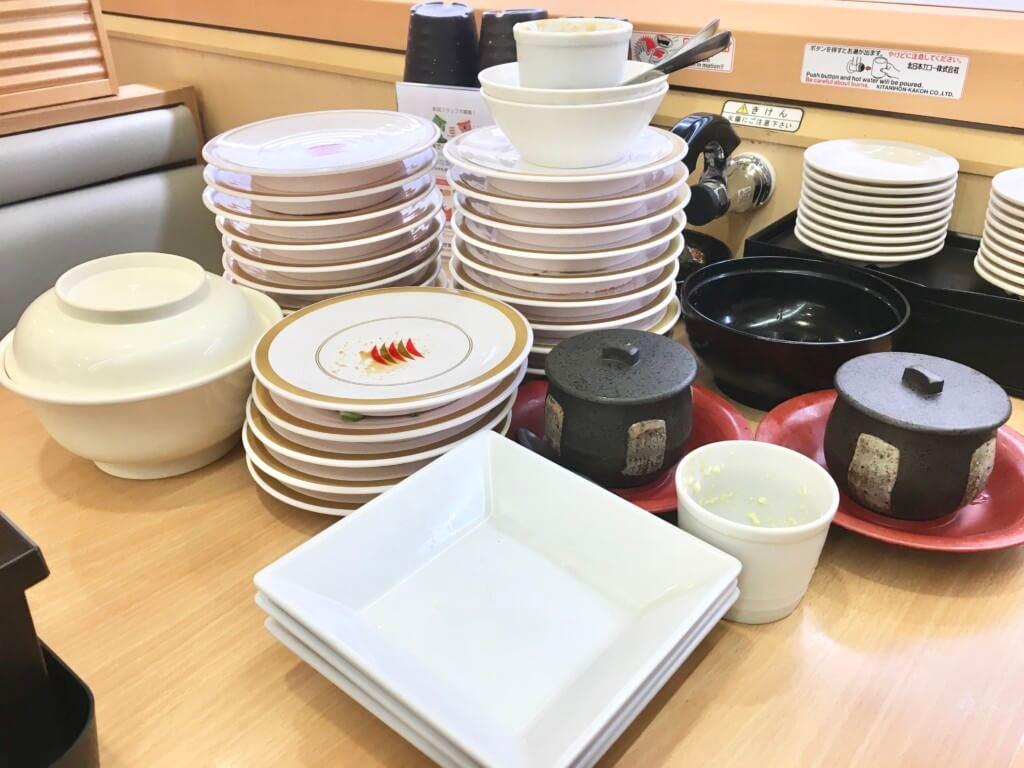 かっぱ寿司食べ放題「食べホー」レギュラーメニューの食べた後の食器
