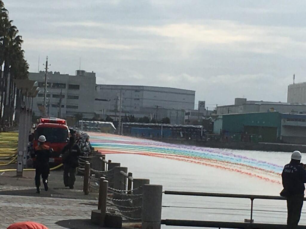 大阪市消防出初式の一斉放水