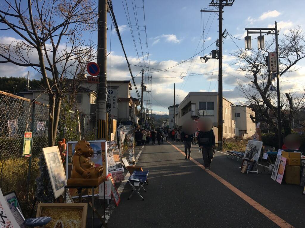水間寺初詣の駐車場からの道