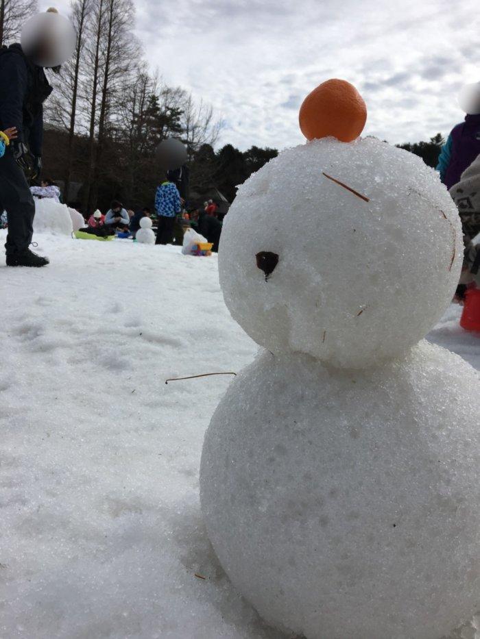 あそびばす雪遊びツアーで雪だるま作り