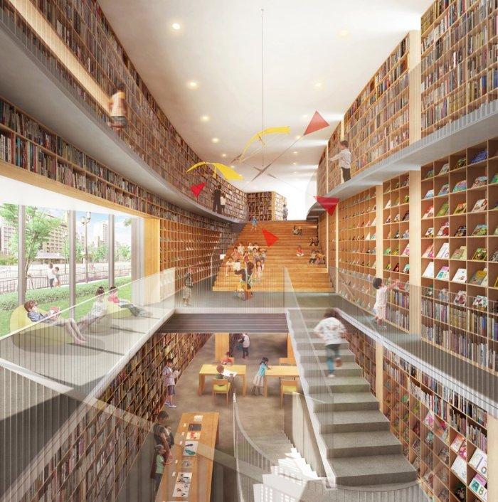 こども本の森中之島図書館の内装