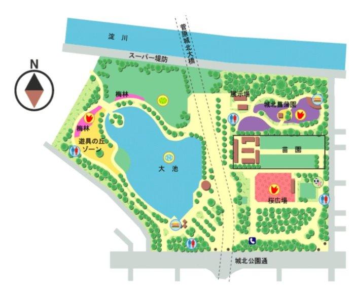 城北公園の地図